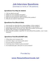 job interview questions resume s job interview questions