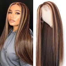 UNice Straight Hair Wig Highlight Blonde Color Hair <b>Lace Front</b> ...