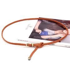 <b>RAINIE SEAN</b> Braided Leather Belt <b>Women</b> Thin Waist Belt Black ...