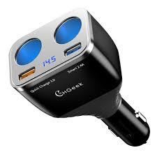 Quick Charge 3.0 Car Charger, CHGeek <b>80W 12V</b>/<b>24V</b> 2 Socket ...