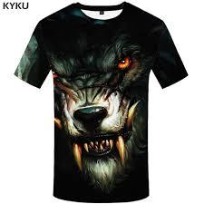 <b>KYKU Wolf T</b> Shirt Men Fangs Black Tshirt Eye 3d Print T shirt Funny ...