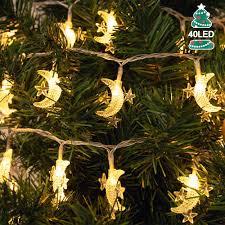 AceList Moon <b>Star String</b> Lights, 20ft 40 <b>LED</b> Fairy Lights Battery ...