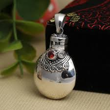 Perfume Bottle pendant 100% <b>925 sterling silver buddha</b> necklace ...
