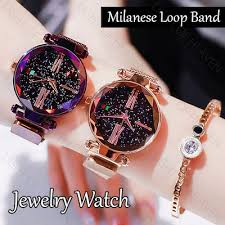 Luxury Women Watches Ladies Magnetic Starry Sky Clock ... - Qoo10