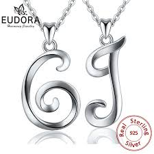 <b>EUDORA 100</b>% <b>925</b> Sterling Silver G & J Letter Name Pendant ...