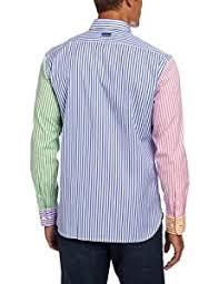<b>Faconnable Men's</b> Club Fit Nautical <b>Striped</b> Woven Shirt Multi X ...