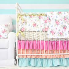 pink bright bedding set  olivias pink and white boho floral crib bedding collection