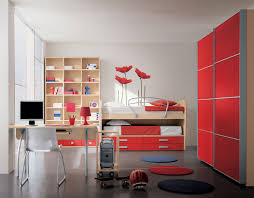 breathtaking modern kids bedroom applying white wall paint color and ceiling combined with red furniture sets and completed with wooden storage racks breathtaking simple office desk feat unique white