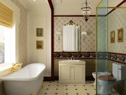 traditional style antique white bathroom: traditional interior bathroom decorations white bath tub two toned walls off white bathroom cabinet antique framed mirror