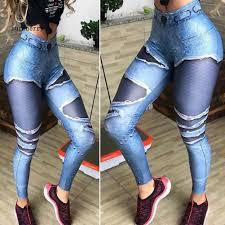 Imitated Ripped Jeans <b>Women High Waist</b> Yoga Leggings Push Up ...