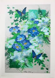 Etsy Art Flutter By Rin Pa Foil Based Fine Art Lithograph Artist Tatsuo Ito