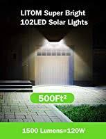 LITOM Enhanced <b>102 LED</b> Super Bright <b>Solar</b> Lights <b>Outdoor</b>, <b>Solar</b> ...
