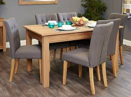 baumhaus mobel oak dining set with 6 flare back grey upholstered chairs baumhaus mobel oak upholstered dining chair