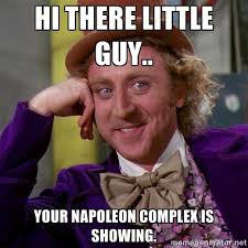 Hi there little guy.. Your Napoleon complex is showing. - Willy ... via Relatably.com