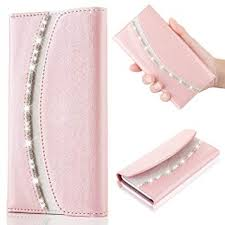 luxury leather filp rhinestone case