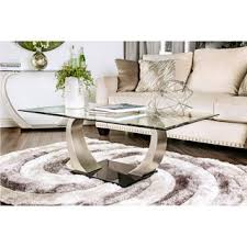 room modern camille glass: furniture of america carmella modern satin plated coffee table