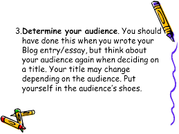 how to write a catchy title  a good blog entry or essay needs a      determine your audience  you should have done this when you wrote your blog