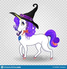 Cute Cartoon <b>Unicorn</b> With Purple Hair In Witch Hat On <b>Transparent</b> ...