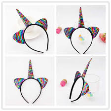 <b>2019 1PC</b> Cute <b>Cartoon</b> Sequins Glitter Unicorn Hairband Rainbow ...