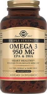 <b>Тройная Омега-3 950 мг ЭПК</b> и ДГК, 100 капсул, Solgar