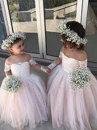 Long Sleeves Delicate <b>Lace</b> Tulle <b>Flower Girl</b> Dresses – Berryera