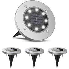 LIGHTSMAX <b>Solar</b> Stainless Steel Clear Integrated <b>8 LED</b> Garden ...