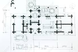 Architectural Drawing A Sketch With Pencil  House Plan  Stock    Stock Photo   Architectural drawing a sketch   pencil  House plan