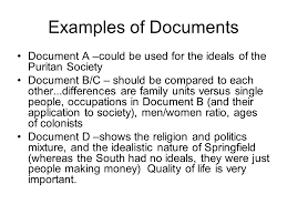 ap history day  essay preparation colonial american issues   ppt  examples of documents document a could be used for the ideals of the puritan society