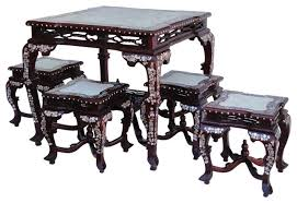 chinese rosewood mother pearl inlaid 8 immortals style table set 4 chairs asian dining asian style dining room furniture