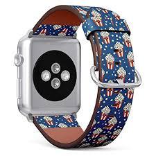 (Retro pop <b>Corn</b> Pattern) Patterned Leather Wristband <b>Strap</b> for ...