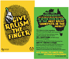 how should we discuss racism in australia    right nowposter art saying give racism the finger