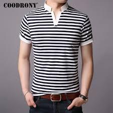 <b>COODRONY Cotton T Shirt</b> Men Srand Collar Short Sleeve T Shirt ...