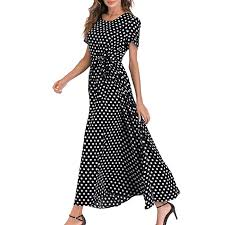 Youmymine Women Short Sleeve <b>Dresses Fashion Dot Print</b> Crew ...