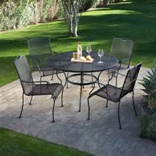 5 piece wrought iron patio furniture dining set seats 4 black powder coat 48in black wrought iron outdoor furniture