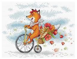 <b>Набор для вышивания</b> лисы на велосипеде <b>МП</b> Студия Париж ...