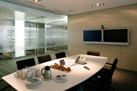 interior design meeting office home with glass background on be equipped white rectangular table and black amazing black glass office