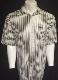 <b>Faconnable</b> Blue Brown <b>Striped</b> Large Short Sleeve Button Front ...