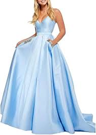 Aox <b>Women Elegant Satin</b> Rhinestone Long Evening Prom Dress ...