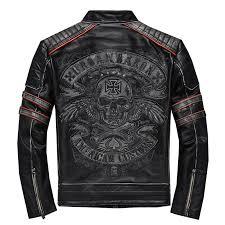 2019 Vintage <b>Black Men's Genuine Leather</b> Jacket Skull Embroidery ...