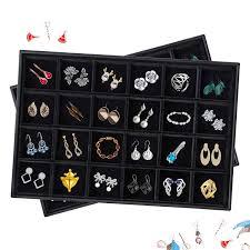 Premium Stackable Velvet <b>24 Grid</b> Jewelry Tray Accessory Display ...