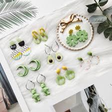 [<b>Ms</b>.three]<b>Personality</b> green bear avocado flower <b>earrings female</b> ...