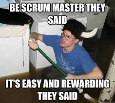 Be Scrum master they said It's easy and rewarding they said - they ... via Relatably.com