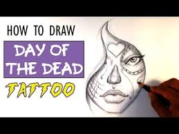 How to Draw a Day of the <b>Dead Girl</b> - Tattoo Art - YouTube