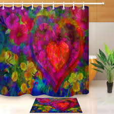 <b>Bathroom Shower Curtain Flower</b> fabric Watercolor 3DPainted ...