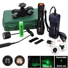 Q5 T6 Tactical <b>5000lm</b> Zoomable <b>Hunting Flashlight</b> Green/Red ...