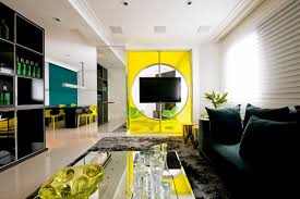 green accent wall yellow accents