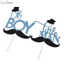 Lychee Glitter Blue Mustache <b>Little</b> Man Cake Topper <b>Oh Boy</b> ...