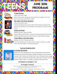 teens the farmington libraries program flyer image