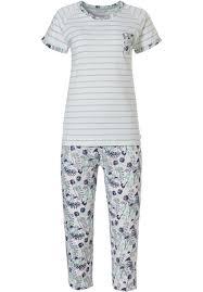 Pastunette <b>ladies</b> organic cotton short sleeve <b>pyjama</b> set 'stripes ...
