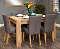 baumhaus aston oak dining set with 6 flare back grey upholstered chairs baumhaus aston oak hidden